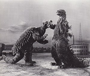 Reboot (fiction) - The Godzilla film franchise, which began in 1954, was rebooted with the films The Return of Godzilla (1984), Godzilla 2000 (1999), Godzilla (2014) and Shin Godzilla (2016). Pictured here is a promotional image from Godzilla Raids Again (1955).