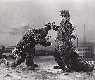 Reboot (fiction) - The Godzilla film franchise, which began in 1954, has been rebooted numerous times. Pictured here is a promotional image from Godzilla Raids Again (1955).