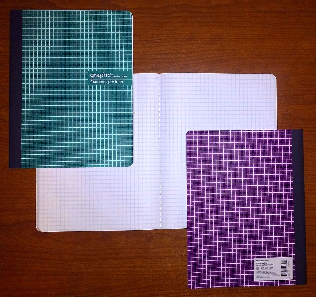 Graph ruled composition book 4 squares per inch