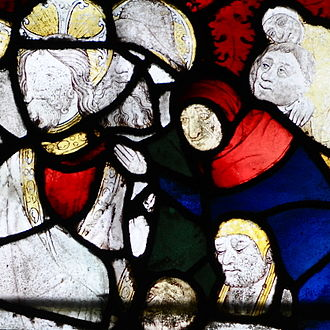 Great Malvern - Medieval stained glass windows at Great Malvern Priory