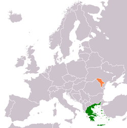 Map indicating locations of Greece and Moldova