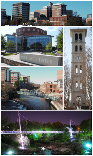 Clockwise from top left: Downtown Greenville, Furman University Bell Tower, Falls Park on the Reedy, Reedy River, Peace Center