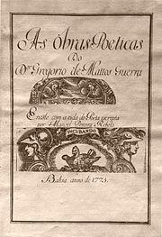 Frontispício de edição de 1775 dos poemas de Gregório