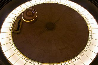 Hope and Fear - Brannon Braga compared director Winrich Kolbe's idea for the alien engineering set to the Foucault pendulum in the rotunda at Griffith Observatory (pictured).