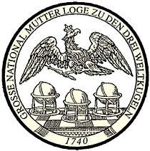 GROSSE NATIONAL MUTTERLOGE ZU DEN DREY WELTKUGELN 1740