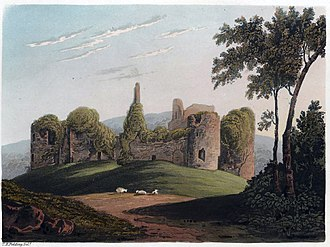 Grosmont Castle - Depiction of the castle in 1823, by Theodore Fielding