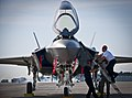 Ground crew training on F-35 at Eglin Air Force Base 9 May 2013.jpg