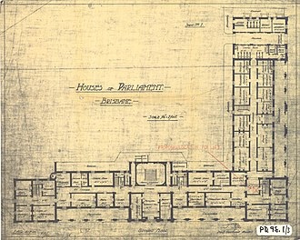Parliament House, Brisbane - Ground floor plan, 1920