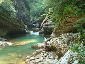 Apsheronsky District - The Kurdzhips River in the Guamka Gorge, Apsheronsky District