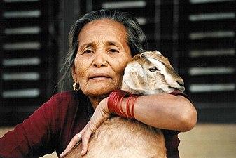 Gurung hugging goat.jpg