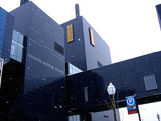 Guthrie Theater - Snow falling at the Guthrie