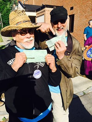 J. G. Hertzler - Hertzler and actor James Cromwell show their arrest citations at the Crestwood station protest