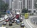 HK Central footbridge view Queen's Road Des Voeux Road traffic jam Sept-2010.JPG