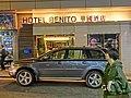 HK TST night 金馬倫里 Cameron Lane 華國酒店 Hotel Benito sidewalk carpark Mar-2013.JPG