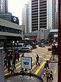 HK tram tour 中環 Central 德輔道中 Des Voeux Road Central 畢打街 Pedder Street stop sign Jan-2012.jpg