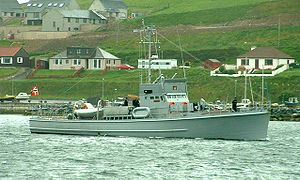 Ingvald Eidsheim - HNoMS Hitra, Eidsheims old ship, in Scalloway, Shetland June 2003