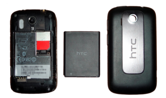 HTC Explorer - HTC Explorer with the back cover removed.