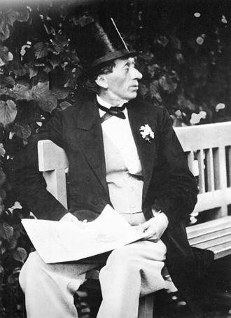 """Hans Christian Andersen bibliography - Hans Christian Andersen in the garden of """"Roligheden"""" near Copenhagen, in 1869."""