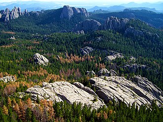 South Dakota - The Black Hills, a low mountain range, is located in Southwestern South Dakota.