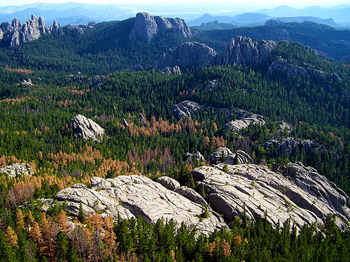 The Black Hills, a low mountain range, is located in Southwestern South Dakota. Harney Peak 4.jpg