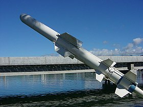 Un missile Harpoon in mostra sulla nave-museo USS Bowfin, ormeggiata a Pearl Harbor, nelle Hawaii.
