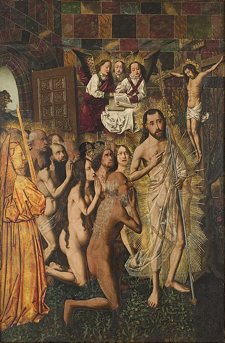 Christ leads the patriarchs from Hell to Paradise, by Bartolomeo Bertejo, Spanish, ca 1480: Methuselah, Solomon and the Queen of Sheba, and Adam and Eve lead the procession of the righteous behind Christ. HarrowingBermejo.jpg