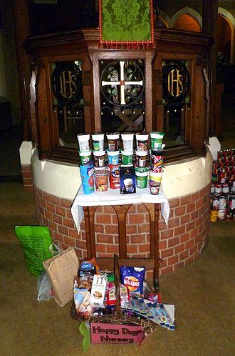 Pot Noodle - Pot Noodle harvest festival offerings, St Andrew's Southgate, London