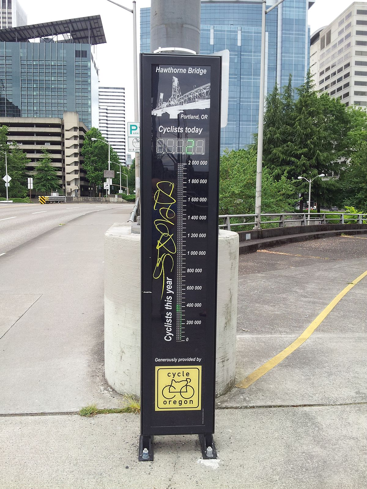 Cost U Less >> Hawthorne Bridge bicycle counter - Wikipedia