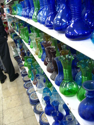 Hebron glass - A display of Hebron glass at a shop in Hebron.