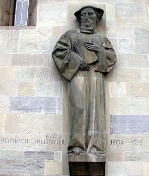Heinrich Bullinger - Sculpture of Bullinger on the Grossmünster