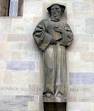 Heinrich Bullinger - Sculpture of Bullinger on the Grossmünster