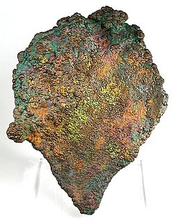 Oxidized botryoidal هماتیت with a distinctive multi-colored patina, from Crowders Mountain Iron Prospect near Kings Mountain