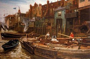 Narrow Street - Charles Napier Hemy: The Limehouse Barge-Builders (Narrow Street from the river).