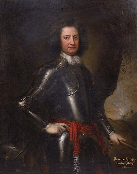 Henri de Massue led the right of the Williamite cavalry at Aughrim. A French Protestant, he had entered William's service in 1690, forfeiting his French estates and title (the Marquis de Rouvigny) as a result. Henri de Massue, Marquis de Ruvigny, 1st Earl of Galway, attributed to Michael Dahl (1659-1743).jpg