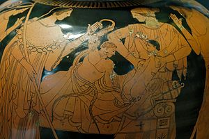 Hercules - The infant Hercules (Heracles) strangling the snakes sent by the goddess Hera (a woman protects Iphikles on the right); detail from an Attic red-figured stamnos from Vulci, Etruria, Italy, ca. 480–470 BC