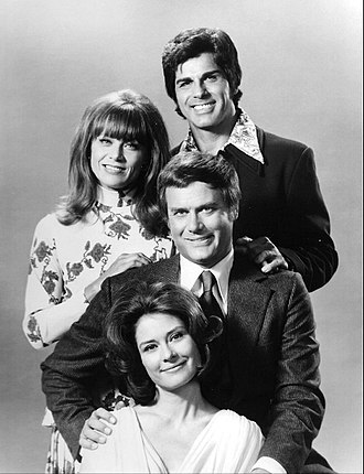Dick Gautier - From the TV series Here We Go Again (1973). From top-Dick Gautier, Nina Talbot, Larry Hagman and Diane Baker