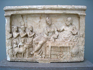 Greek hero cult - Offerings to a deified hero and another deity, depicted on a Greek marble relief ca. 300 BC