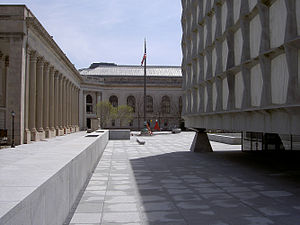 Beinecke Rare Book & Manuscript Library - View of the neoclassical Hewitt Quadrangle surrounding the Beinecke
