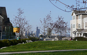 West Seattle, Seattle - View of downtown Seattle from one of several common greenspaces
