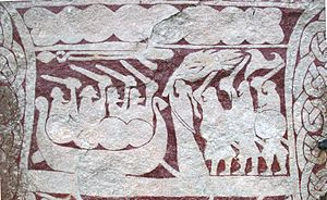 Sörla þáttr - Detail from the Stora Hammars I stone, an image stone on Gotland