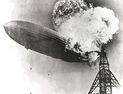The German dirigible airship Hindenburg exploding in 1937.