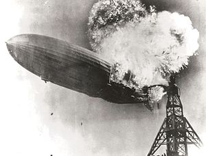 Hindenburg disaster - Hindenburg begins to fall seconds after catching fire