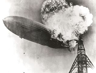 A photograph of the Hindenburg explosionSource: Wikipedia 315px-Hindenburg_burning.jpg