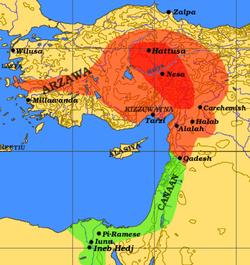 赫梯王国(紅色)於大約公元前1290年的最高峰時期,與埃及帝國(綠色)接壤。