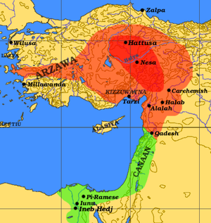 Arzawa - The expanded Hittite Empire (red) replaces Hatti, including Arzawa ca. 1290 BC and borders the Egyptian kingdom (green)