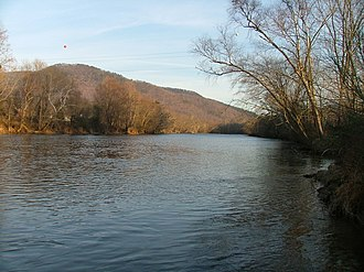 Hiwassee River - Near the bridge of U.S. Highway 411 in Tennessee. Gee Knob and Chestnut Mountain are on the left.