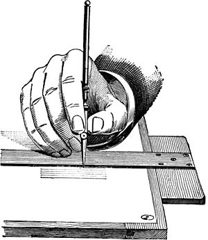 Ruling pen - Illustration of ruling pen use from A Textbook on Ornamental Design (1901)