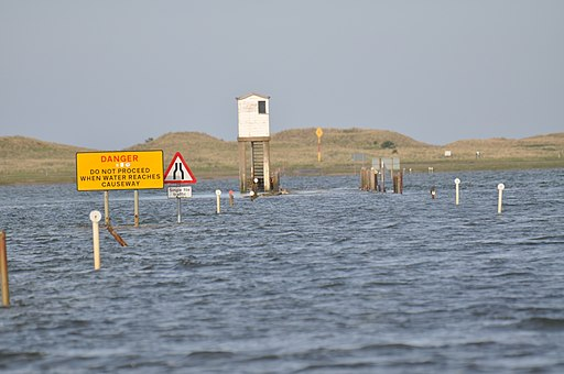 Holy Island causeway at high tide - geograph.org.uk - 1893501