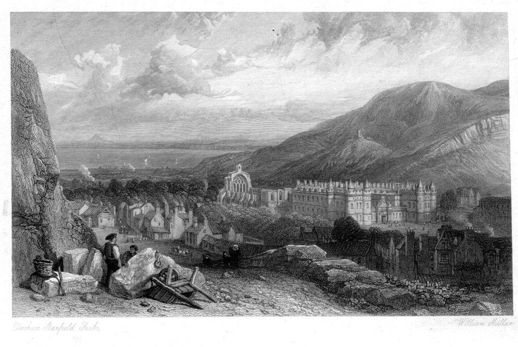 Dessin de William Miller (1842) représentant Holyrood House depuis Calton Hill.