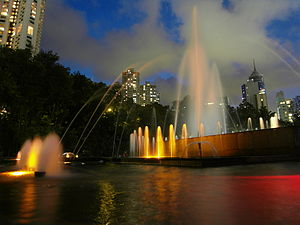 Hong Kong Zoological and Botanical Gardens - Garden Fountain at night